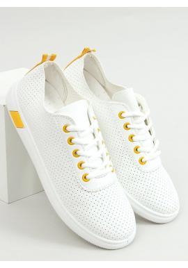 Dámske pohodlné tenisky s dierkovanou textúrou v bielo-žltej farbe