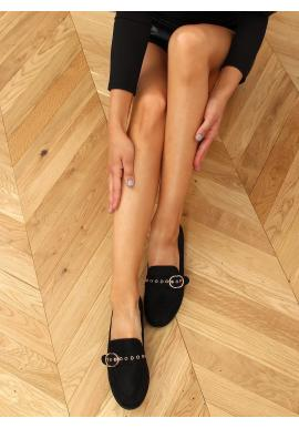 Semišové dámske mokasíny čiernej farby s prackou
