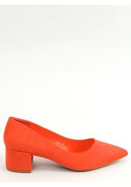 Dámske semišové lodičky na nízkom podpätku v oranžovej farbe