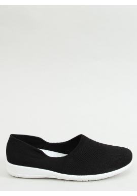 Dámske ponožkové balerínky s ažúrovým vzorom v čiernej farbe