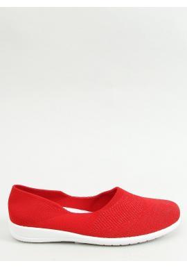Ponožkové dámske balerínky červenej farby s ažúrovým vzorom