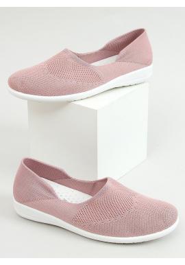 Dámske ponožkové balerínky s ažúrovým vzorom v ružovej farbe