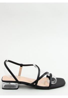 Čierne módne sandále na priehľadnom podpätku pre dámy