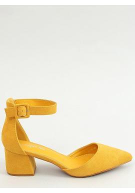 Žlté semišové lodičky na širokom podpätku pre dámy
