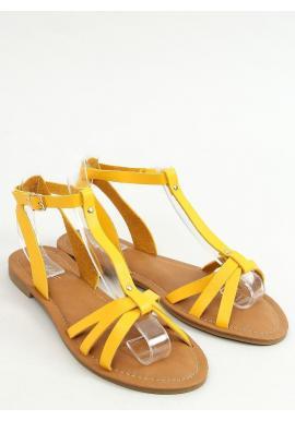 Dámske klasické sandále s plochým podpätkom v žltej farbe