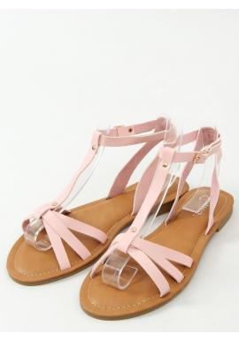 Ružové klasické sandále s plochým podpätkom pre dámy