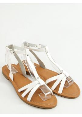 Dámske klasické sandále s plochým podpätkom v bielej farbe
