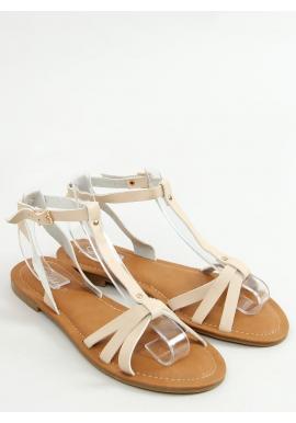 Klasické dámske sandále béžovej farby s plochým podpätkom