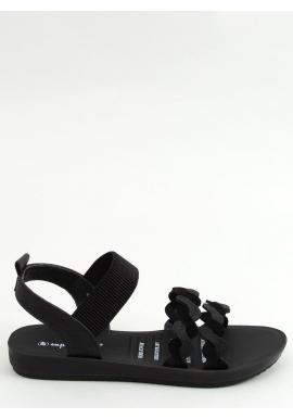 Dámske štýlové sandále s pletenými pásikmi v čiernej farbe