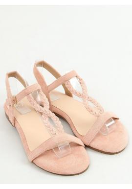 Ružové semišové sandále s plochou podrážkou pre dámy