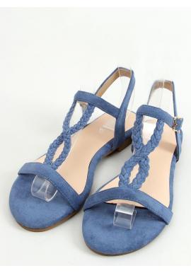Dámske semišové sandále s plochou podrážkou v modrej farbe