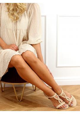 Semišové dámske sandále béžovej farby s plochou podrážkou