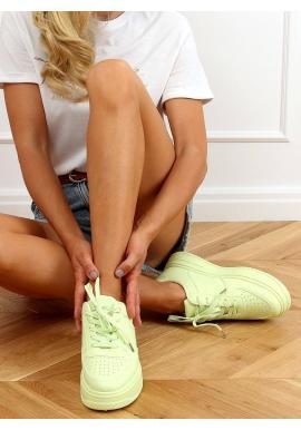 Limetkové športové tenisky s vysokou podrážkou pre dámy