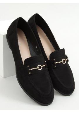 Čierne klasické mokasíny s ozdobou pre dámy