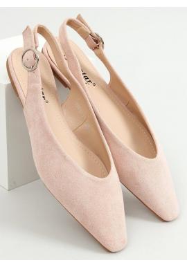 Dámske semišové balerínky s odkrytou pätou v ružovej farbe