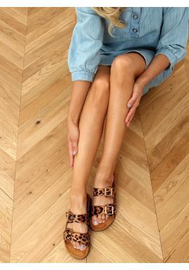 Hnedé korkové šľapky s prackami pre dámy