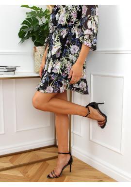 Elegantné dámske sandále čiernej farby na štíhlom podpätku