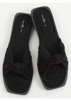 Semišové dámske šľapky čiernej farby s prekríženými pásikmi