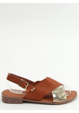 Dámske módne sandále s metalickým doplnkom v hnedej farbe