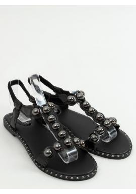 Lakované dámske sandále čiernej farby s lesklými guličkami