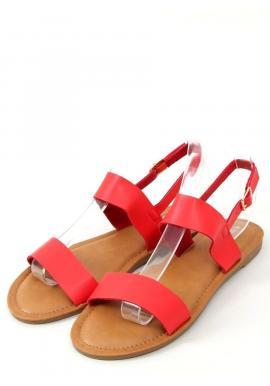 Dámske lícové sandále s plochou podrážkou v červenej farbe