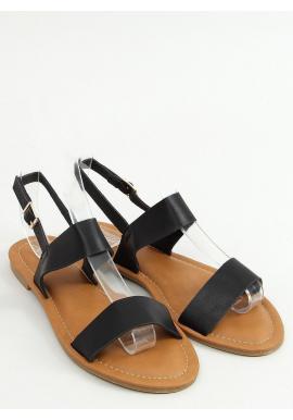 Lícové dámske sandále čiernej farby s plochou podrážkou