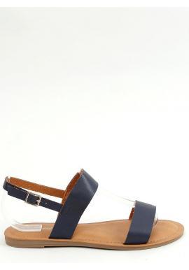 Tmavomodré lícové sandále s plochou podrážkou pre dámy