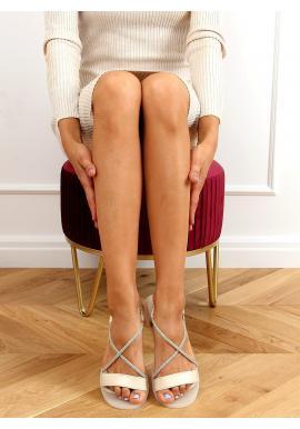 Nazúvacie dámske sandále béžovej farby s kamienkami