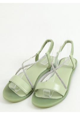 Zelené nazúvacie sandále s kamienkami pre dámy