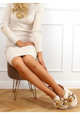 Béžové štýlové šľapky s hrubou retiazkou pre dámy