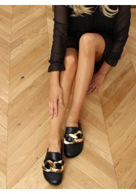 Dámske štýlové šľapky s hrubou retiazkou v čiernej farbe