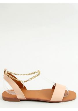 Minimalistické dámske sandále béžovej farby so zlatou retiazkou