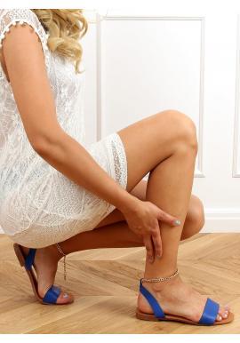 Modré minimalistické sandále so zlatou retiazkou pre dámy