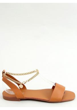 Minimalistické dámske sandále hnedej farby so zlatou retiazkou