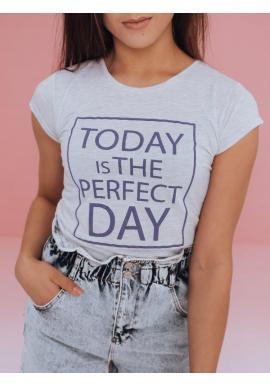 Svetlosivé klasické tričko s potlačou pre dámy