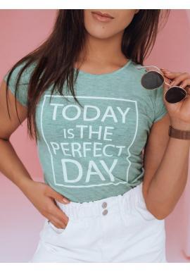 Klasické dámske tričko mätovej farby s potlačou