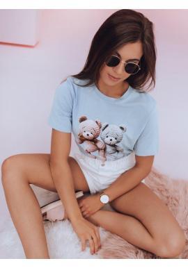 Svetlomodré voľnejšie tričko s potlačou medvedíkov pre dámy