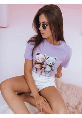 Dámske voľnejšie tričko s potlačou medvedíkov vo fialovej farbe