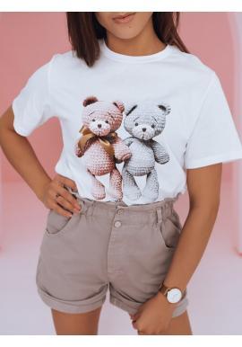 Voľnejšie dámske tričko bielej farby s potlačou medvedíkov