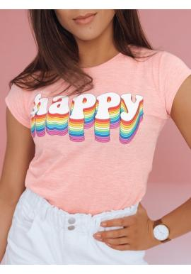 Dámske bavlnené tričko s potlačou v ružovej farbe