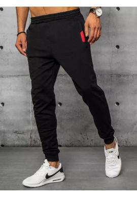 Športové pánske tepláky čiernej farby s ozdobnými vložkami