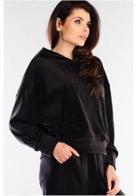 Velúrová dámska mikina čiernej farby s kapucňou