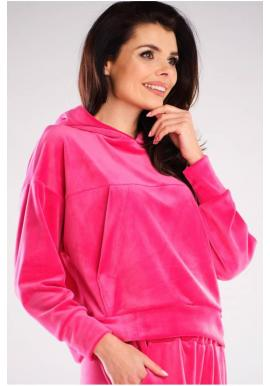 Dámske velúrové mikiny s kapucňou v ružovej farbe