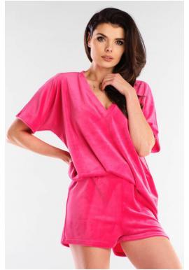 Dámske velúrové šortky s voľným strihom v ružovej farbe