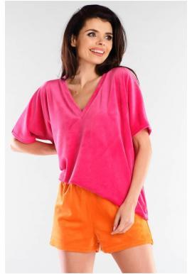 Velúrové dámske šortky oranžovej farby s voľným strihom