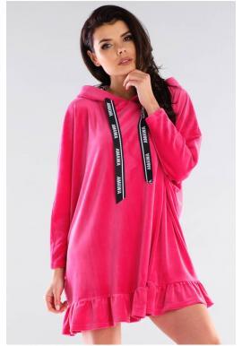 Ružová oversize mikina s kapucňou pre dámy