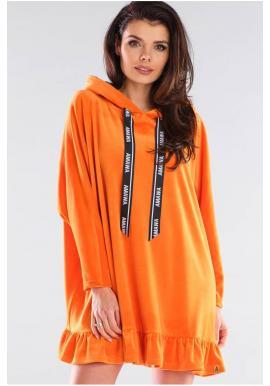 Dámska oversize mikina s kapucňou v oranžovej farbe