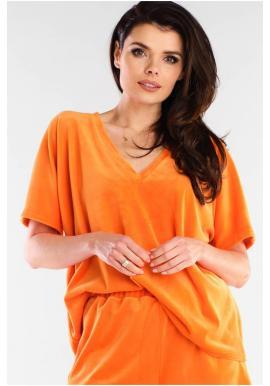 Oranžové velúrové tričko s véčkovým výstrihom pre dámy
