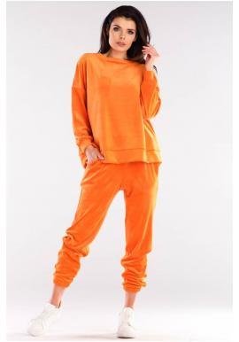 Oranžové velúrové tepláky s manžetami pre dámy