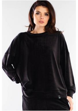 Velúrová dámska oversize mikina čiernej farby